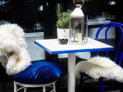 Comfy Al Fresco in Blue and White (garryknight) Tags: cybershot dschx60v lightroom london ononephoto10 sony blue chair cushion lantern table throw white creativecommons