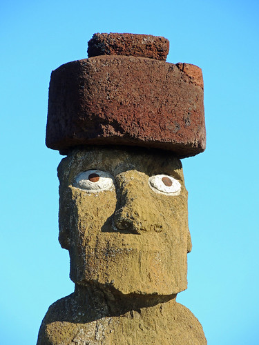 Moai Head with Top knot at Tahai