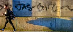 Too fast For Her Own Shadow ! (stephenbryan825) Tags: limestreet liverpool buildings girl grafitti lowangle lowlight selects shadows walking
