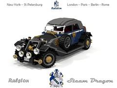 Ralston Steam Dragon (lego911) Tags: auto classic car sedan vintage model dragon lego render steam 95 legacy challenge ralston cad lugnuts povray steampunk moc ldd miniland foitsop lego911 designingtheralstonlegacy