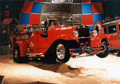 Jolly Rancher fire truck (The Rubberbandman) Tags: show old red usa classic chevrolet car america truck vintage germany fire us essen funny engine german american vehicle motor jolly rancher motorshow dragster wheelstander