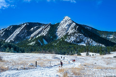 Flatirons Colorado (Siklos Photography) Tags: mountain flatirons snow winter december trees peak trail hike hikers ski rock climb snowy colorado boulder blue sky white christmas people head chautauqua park rocky mountains siklos photography first second outdoor landscape hill