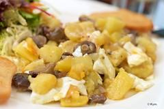Lunch/Huevos rotos (Kym.) Tags: andalucía andalusia day9 egg huesrotos lunch mushroom nerja potato salad somebodyelseskitchen spain spanishbrokeneggs