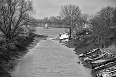Verbindingskanaal Mookerplas - Maas 2-1-2017 (Geert Theunissen) Tags: maas mook mookerplas grave stuw laagwater woonboot schade limburg plasmolen middelaar dolfijn ark bw monochrome
