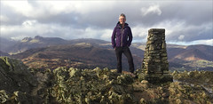 5 of 52 trig points (Ron Layters) Tags: 2017 ronlayters selfportrait 52trigpoints loughriggfell trigpoint lakedistrict loughrigg langdalepikes sunshine butcold hills fells moor rocks winter cold light summit pillar tp4549 fbs5470 ambleside cumbria england unitedkingdom 52weeks 52 phonecamera iphone apple appleiphone6 selftimer tripod 10secondtimer weekfive outdoor week5 5