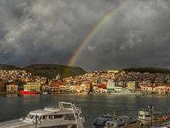 rainbow over my city...09:00..5/1/2017 (panoskaralis) Tags: city λιμάνιμυτιλήνησmytiliniport port ships greeknavy navy mytilene lesbos lesvosisland lesvos greece greek hellas hellenic heavy weather winter clouds cloud rain rainbow morning coast coastguard helleniccoastguard building oldbuildings orthodox church