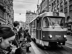 Tram (torbus) Tags: tram oldcity czech praha expressions newcity people streetphotography architecture prague 2016 monotone traffic blackwhite iphone phone faces