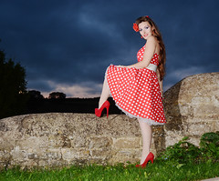 Holly HW 041 (Fast an' Bulbous) Tags: polkadot dress circle long brunette hair petticoat girl woman hot hotty sexy chick babe model pinup northamptonshire nenevalley hardwater mill people outdoor off camera flash strobist nikon d7100 gimp stockings high heels stilettos red shoes hardwatercrossing sixinchheels