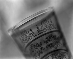Moroccan tea glass (Howard Sandler (film photos)) Tags: moroccan tea glass macro largeformat 4x5 graflex pacemaker speedgraphic wollensak optar ilford blackandwhite film diopter close delta