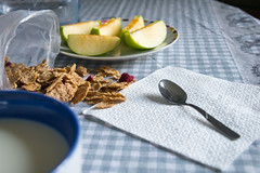 Weekday breakfast (clarissabolettieri) Tags: breakfast milk morning light cereals muesli apple fruit calm chill