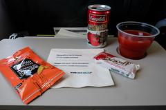 Plane Snacks (_Codename_) Tags: vancouver britishcolumbia bc airplane plane tray snacks tomatojuice can campbells