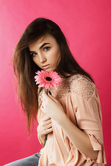 Natasha (ivankopchenov) Tags: girl portrait cute canon beautiful natural naturallight model mood people face soft light eos young hair warm sensual gentle cinematic depthoffield eyes indoor modeltests fashion studio pink flower