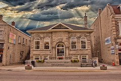 Fergus Ontario  ~ Canada ~ Wellington County Library ~ Carnegie Free Library ~Historic (Onasill ~ Bill Badzo) Tags: fergus on ontario canada heritage nrhp historic library wellingtoncounty carnegie attraction small town free onasill andrew elora branch harriston mountforest palmerston rural stone romanesque sky clouds