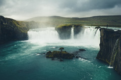 Goðafoss II. (Matthieu Robinet) Tags: iceland island waterfall godafoss myvatn north atlantic arctic cold summer cloudy green blue water massive deep rocks cliff woman alone sensational nature landscape fog flow pool exploring discover roadtrip
