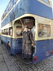 Welcome Aboard! (Terry Pinnegar Photography) Tags: beamish museum countydurham engager conductress bus rotherham daimler ket220 cvg6 cobbles gardner preselector