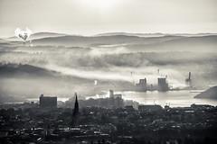 Oslo, December 17, 2014 (Ulf Bodin) Tags: norway morning canoneosm oslo smoke norge mist outdoor vinter fog canonefm55200mmf4563isstm dimma sunup winter no sunrise skyline sky city