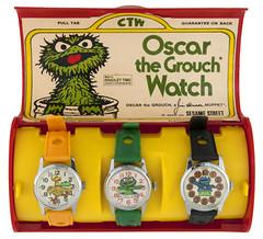 1977 Sesame Street watches (Tom Simpson) Tags: sesamestreet watch accessories vintage 1977 1970s oscarthegrouch grouch bigbird cookiemonster muppet muppets themuppets