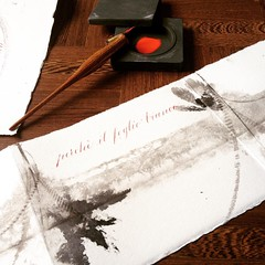 Sumi rosso e nero (La Stanza di Wendy) Tags: square handmade squareformat calligraphy sumi bookbinding calligrafia carta leporello merini fattoamano corsivo rilegatura handwriter iphoneography instagramapp silviamandelli