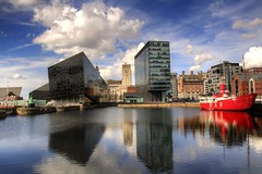 Canning Dock (Tony Shertila) Tags: england sky reflection water weather clouds liverpool docks boat europe day colours cloudy britain outdoor oc lightship merseyside albertdocks canningdock salthousedock liverpoolone openeyegallery
