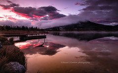Magenta Sky at Vermillion Lake (chasingthelight10) Tags: travel mist canada photography landscapes events places things banffnationalpark canadianrockies vermilionlake
