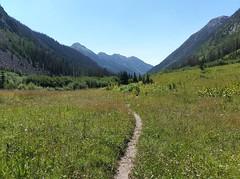 5355 The Lake Creek Valley broadens as we descend on the Emerald Lake Trail (_JFR_) Tags: camping colorado hiking backpacking wilderness lakecreek weminuche weminuchewilderness sanjuannationalforest emeraldlaketrail