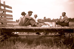 Coffee Time On The Farm (Sherlock77 (James)) Tags: people tractor man wagon farm oldphoto foundphoto coffeepot foundnegative