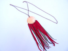 Long Copper Circle Pendant Necklace/Lariat with Red and Gray Repurposed Leather Fringe (N66) (amaliyjewelry) Tags: red leather fashion circle necklace long handmade gray fringe jewelry copper lariat etsy boho gypsy dangle repurpose amaliyjewelry
