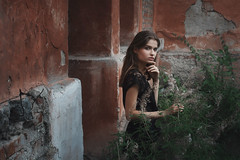 Jeanne (ivankopchenov) Tags: city light summer portrait people building girl wall natural outdoor young bushes