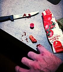 Domestic splatter (alessandra_riccardo) Tags: blood finger knife fake splatter carota sangue dito carot coltello