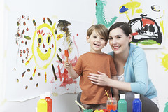 Teacher And Pupil In Pre School Art Class (maxbringmann) Tags: family school boy portrait people woman playing male art smiling horizontal female painting children happy person thirties student education women paint child creative mother son class teacher whitebackground mum parent together messy learning studioshot preschool teaching lesson copyspace twopeople paintbrush pupil 30s 4yearold profession havingfun caucasian tutor occupation preschooler lookingatcamera elementaryeducation primaryeducation isolatedonwhite