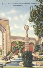 Court of Flowers - 1939 Golden Gate International Exposition - San Francisco, California (The Cardboard America Archives) Tags: sanfrancisco california vintage linen postcard artdeco 1939 worldsfair