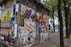Paste up sur un vieux transformateur lectrique, EvazSir (No Rules Corp), rue Sorbier, Mnilmontant Paris (Jeanne Menj) Tags: paris pasteup collage affiches mnilmontant ruesorbier lutteouvrire norulescorp transformateurlectrique evazsir
