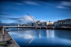 Looking Down the Liffey (peter.guyan) Tags: longexposure bridge blue ireland dublin water clouds canon reflections river eos quay liffey beckett samual 24105mm 10stop nd30 leefilters 06nd eos5dmkii bigstopper