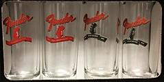 4 Fenders (Stones-59) Tags: shot glass shotglass fender guitar bass jazz telecaster stratocaster 4 four set