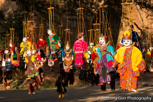 Traditional Puppets Hanging From a Tree at Dhammayangyi Temple in Bagan, Myanmar