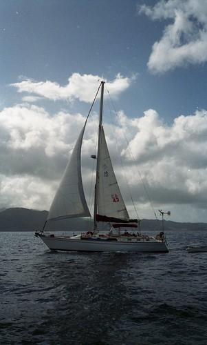 Free Spirit under sail.