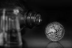The Remedy (Melissa_JMH) Tags: bw mono macro mondays drink drinking drunk remedy macromondays inspiredbyasong art music bottle table still life shot shots