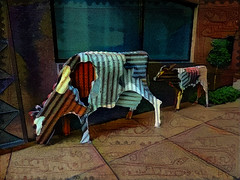Corrugated Cows (Steve Taylor (Photography)) Tags: cow animal art digital sculpture colourful metal iron newzealand nz southisland canterbury christchurch city cbd corrugated texture hepher