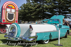 KOOL*55  1955 Chevrolet Belair Convertible (Malcom Lang) Tags: lostinthefifties kool55 1955 chevrolet belair convertible thelegendliveson vehicle car automobile auto autos regal turquoise indian ivory colour color sound system carshow crome wheel tyres whit walled restored lefthanddrive speaker lights people trees grass vintage rockn roll 50s foxtail tail stand