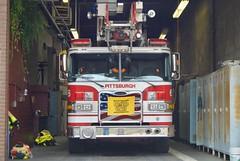 Terrible Towel on Pittsburgh Firetruck (nick.amoscato) Tags: pittsburgh steelers terrible towel firetruck garage parked usa