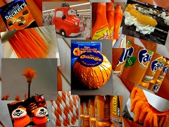 Orange (Explored) (amy's antics) Tags: wah wearehere orange shopping chocolate straws plants cleaningstuff drinks cans slippers