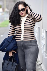 Look Stylish all Winter with this Easy Pairing (GirlWithCurves) Tags: stripes girlwithcurves taneshaawasthigrayjeans curlyhair peacoat