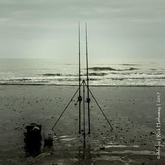 A Fishermans view (rhfo2o - rick hathaway photography) Tags: rhfo2o canon canoneos7d elmer elmersands bognorregis westsussex beach sea seaside sand sky waves horizon fishingrods fishing square