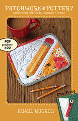 Pencil MugRug - PDF pattern 22 (PatchworkPottery) Tags: pencil mugrug mat coaster placemat paperpiecing teacher name patchwork quilt quilted embroidery freemotion quilting patterns patchworkpotterypatterns
