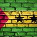 National Flag of Sao Tome and Principe on a Brick Wall