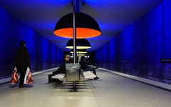 """Clichs"", Station Westfriedhof, Underground, Munich, Germany (contrelamontre) Tags: lighting street city blue urban color colour underground lights candid streetphotography illumination clich"