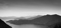 Queen Charlotte Sound (dave.fergy) Tags: ocean newzealand sky blackandwhite mountain abstract water monochrome landscape mono mood coastal nz dreamy marlborough titirangi on1pics