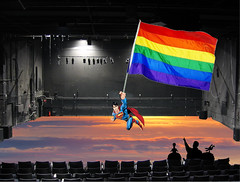 Catch Photo #30C (gaymay) Tags: california gay sky love happy robot flying desert stage flag palmsprings superman rainbowflag auditorium triad mysterysciencetheater3000 catchphoto