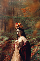 'I sense Autumn coming on, The sun sinking red and deep.' (Laura Jane Harding) Tags: flowers autumn red orange green art beautiful beauty fashion forest pose gold model skin fine pale expressive porcelain autumnal