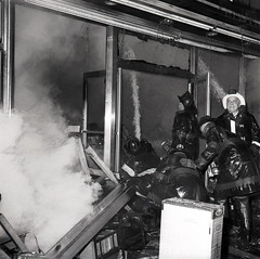 2015-12-17ThrowbackThurs1966 (6) (Official New York City Fire Department (FDNY)) Tags: york nyc rescue building water vintage fire smoke flames tools 1966 masks collapse 1960s firefighting firefighter fdny tbt new city fire handlines engine truck thursday aerial ladder suppression throwback